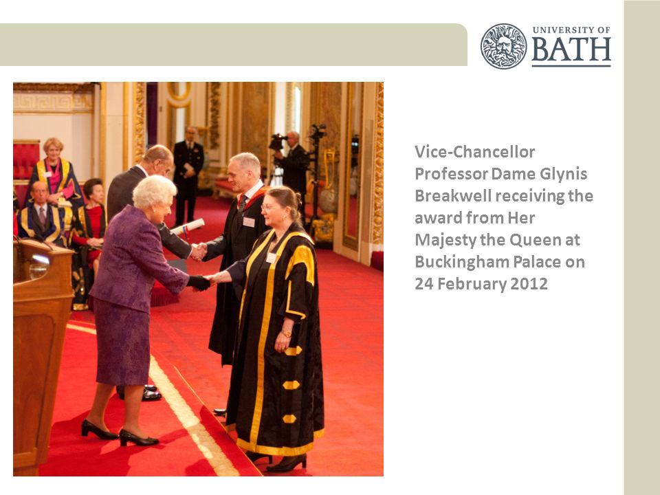 Vice-Chancellor Professor Dame Glynis Breakwell receiving the award from Her Majesty the Queen at Buckingham Palace on 24 February 2012
