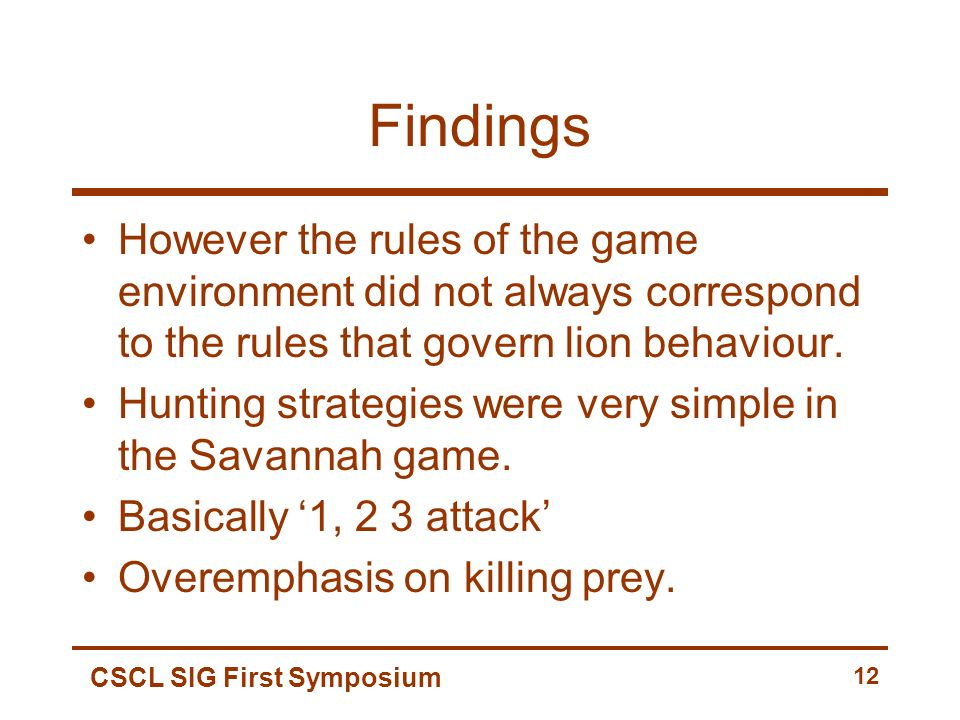 CSCL SIG First Symposium 12 Findings However the rules of the game environment did not always correspond to the rules that govern lion behaviour.