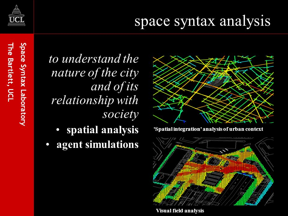 Space Syntax Laboratory The Bartlett, UCL space syntax analysis to understand the nature of the city and of its relationship with society spatial analysis agent simulations Spatial integration analysis of urban context Visual field analysis