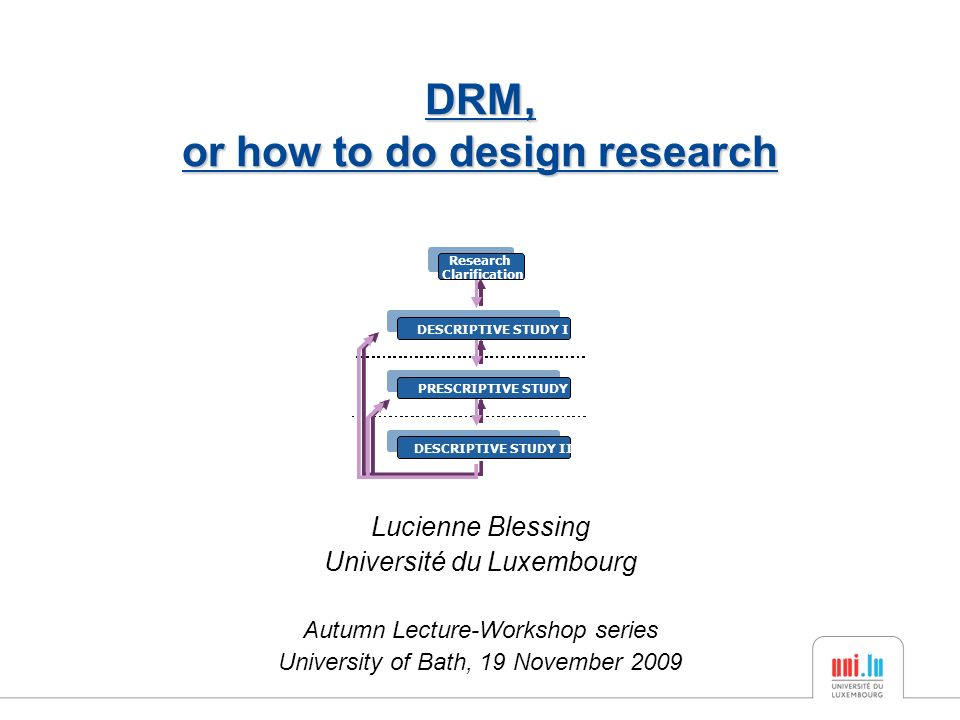 Lucienne Blessing Université du Luxembourg Autumn Lecture-Workshop series University of Bath, 19 November 2009 DRM, or how to do design research