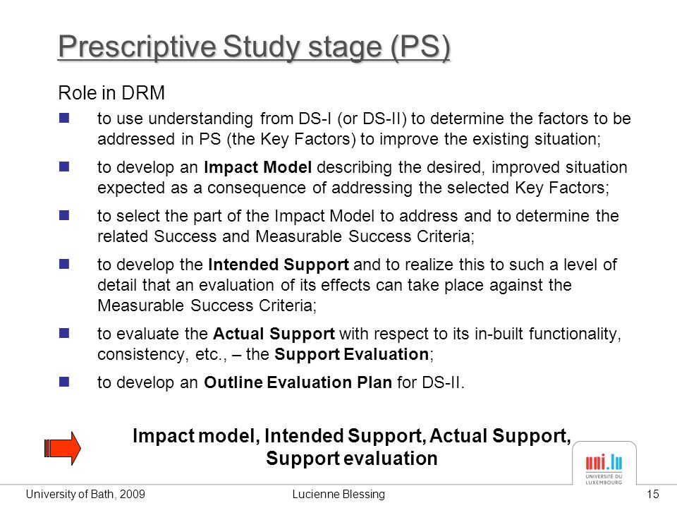 University of Bath, 2009Lucienne Blessing15 Prescriptive Study stage (PS) Impact model, Intended Support, Actual Support, Support evaluation Role in DRM to use understanding from DS-I (or DS-II) to determine the factors to be addressed in PS (the Key Factors) to improve the existing situation; to develop an Impact Model describing the desired, improved situation expected as a consequence of addressing the selected Key Factors; to select the part of the Impact Model to address and to determine the related Success and Measurable Success Criteria; to develop the Intended Support and to realize this to such a level of detail that an evaluation of its effects can take place against the Measurable Success Criteria; to evaluate the Actual Support with respect to its in-built functionality, consistency, etc., – the Support Evaluation; to develop an Outline Evaluation Plan for DS-II.