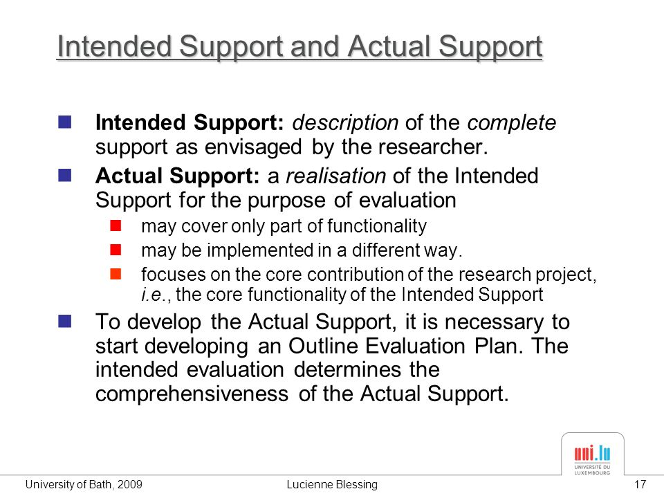 University of Bath, 2009Lucienne Blessing17 Intended Support and Actual Support Intended Support: description of the complete support as envisaged by the researcher.