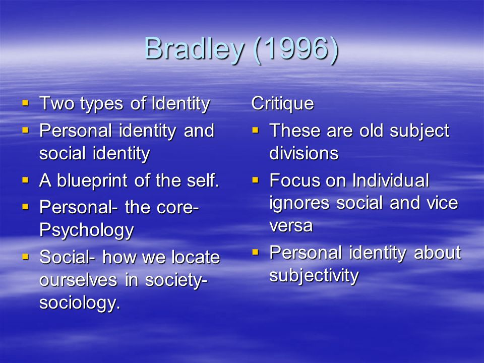 Bradley (1996) Two types of Identity Two types of Identity Personal identity and social identity Personal identity and social identity A blueprint of