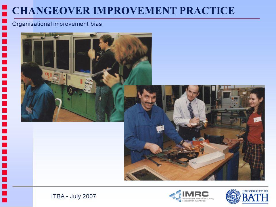CHANGEOVER IMPROVEMENT PRACTICE Organisational improvement bias ITBA - July 2007
