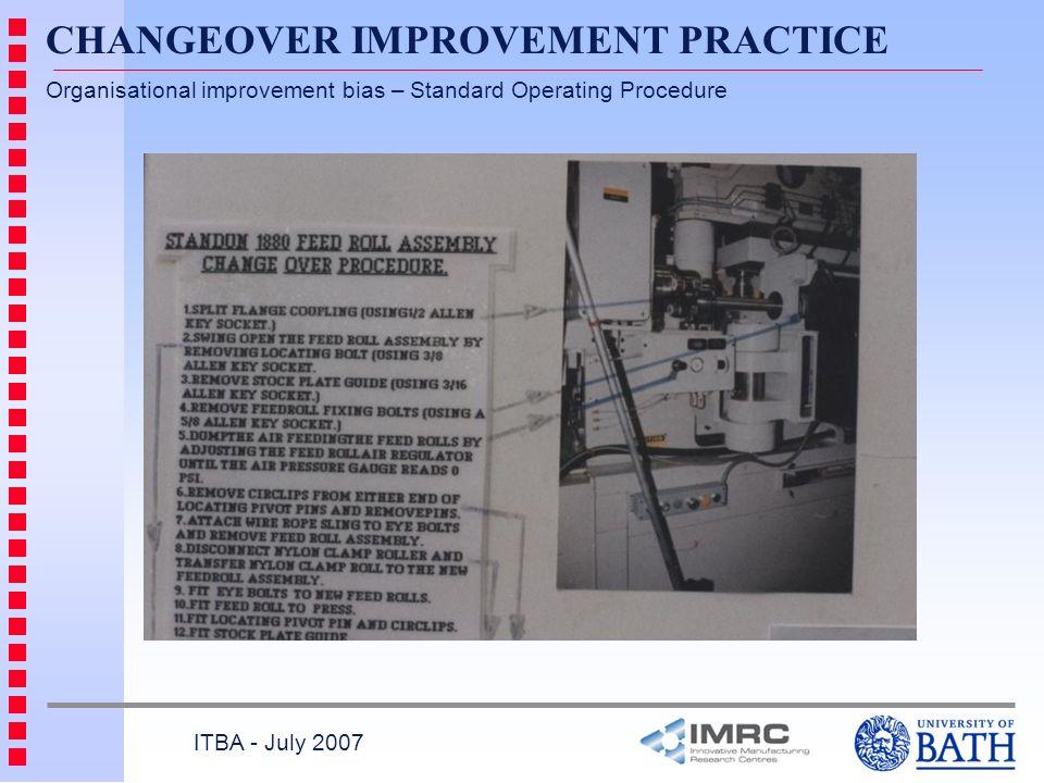 CHANGEOVER IMPROVEMENT PRACTICE Organisational improvement bias – Standard Operating Procedure ITBA - July 2007