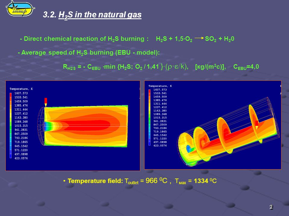 3.2. H 2 S in the natural gas Temperature field: T outlet = 966 0 C, T мах = 1334 0 C - Direct chemical reaction of H 2 S burning : H 2 S + 1,5·O 2 SO