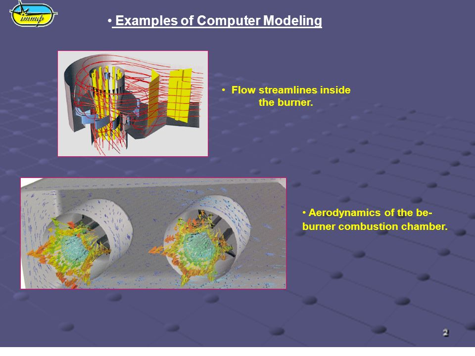 Examples of Computer Modeling Flow streamlines inside the burner.