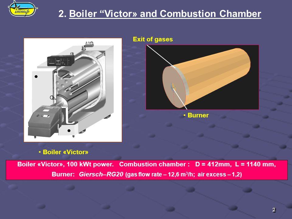 2. Boiler Victor» and Combustion Chamber Boiler «Victor» Boiler «Victor», 100 kWt power. Combustion chamber : D = 412mm, L = 1140 mm, Burner: Giersсh–