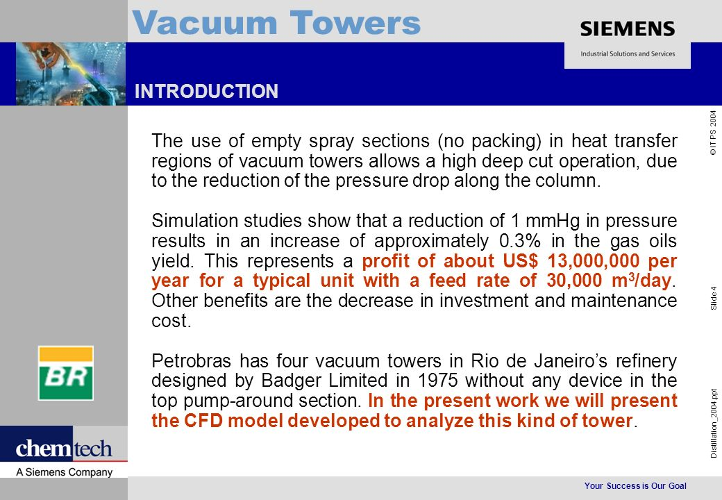 Your Success is Our Goal Distillation_2004.ppt Slide 4 © IT PS 2004 Vacuum Towers INTRODUCTION The use of empty spray sections (no packing) in heat transfer regions of vacuum towers allows a high deep cut operation, due to the reduction of the pressure drop along the column.