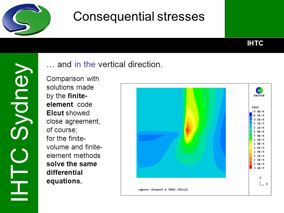 IHTC IHTC Sydney Consequential stresses … and in the vertical direction. Comparison with solutions made by the finite- element code Elcut showed close