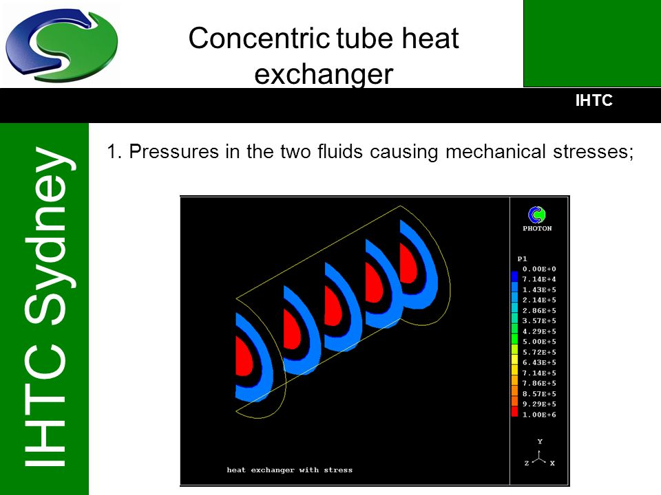 IHTC IHTC Sydney Concentric tube heat exchanger 1. Pressures in the two fluids causing mechanical stresses;