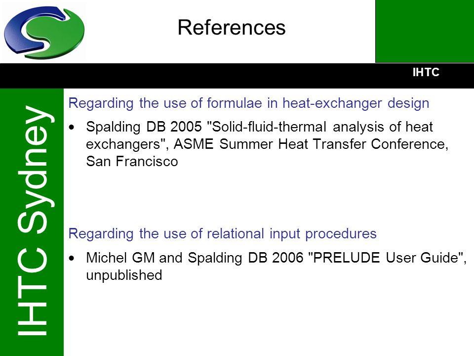 IHTC IHTC Sydney References Regarding the use of formulae in heat-exchanger design Spalding DB 2005
