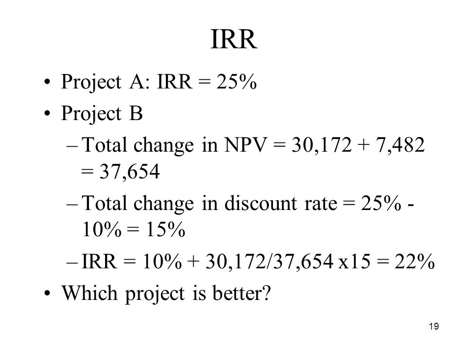 19 IRR Project A: IRR = 25% Project B –Total change in NPV = 30, ,482 = 37,654 –Total change in discount rate = 25% - 10% = 15% –IRR = 10% + 30,172/37,654 x15 = 22% Which project is better