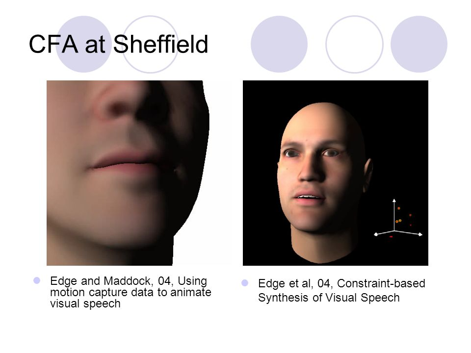CFA at Sheffield Edge and Maddock, 04, Using motion capture data to animate visual speech Edge et al, 04, Constraint-based Synthesis of Visual Speech