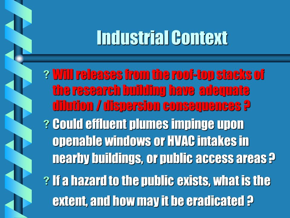 Industrial Context Will releases from the roof-top stacks of the research building have adequate dilution / dispersion consequences .