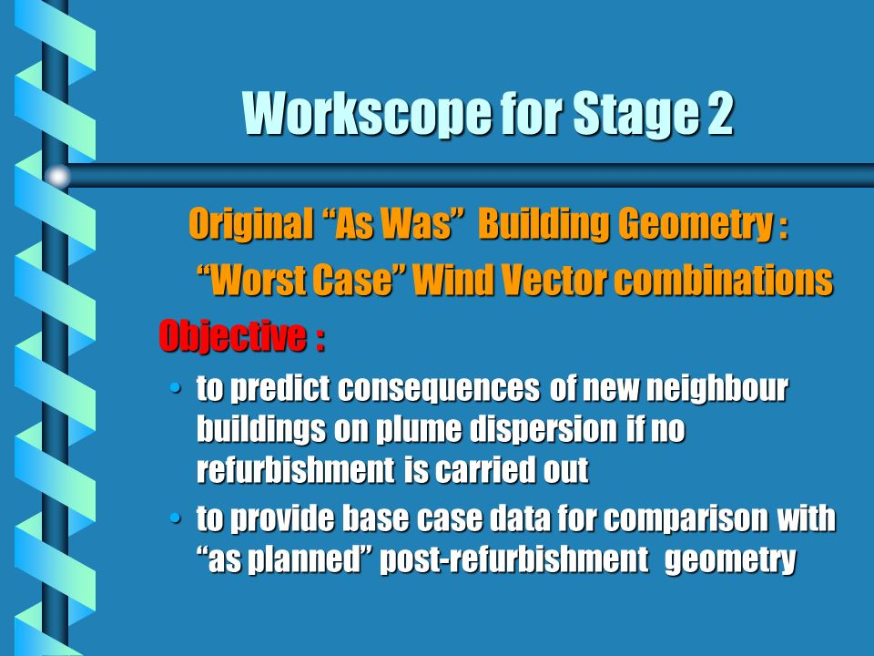 Workscope for Stage 2 Original As Was Building Geometry : Worst Case Wind Vector combinations Objective : to predict consequences of new neighbour buildings on plume dispersion if no refurbishment is carried outto predict consequences of new neighbour buildings on plume dispersion if no refurbishment is carried out to provide base case data for comparison with as planned post-refurbishment geometryto provide base case data for comparison with as planned post-refurbishment geometry