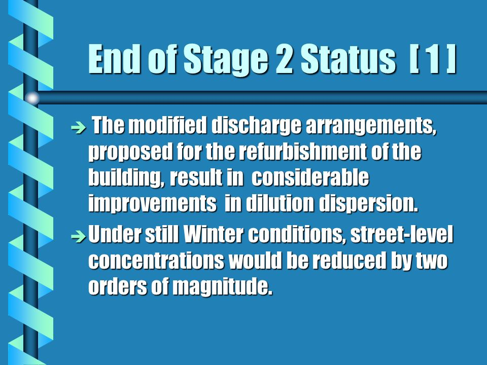 End of Stage 2 Status [ 1 ] è The modified discharge arrangements, proposed for the refurbishment of the building, result in considerable improvements in dilution dispersion.