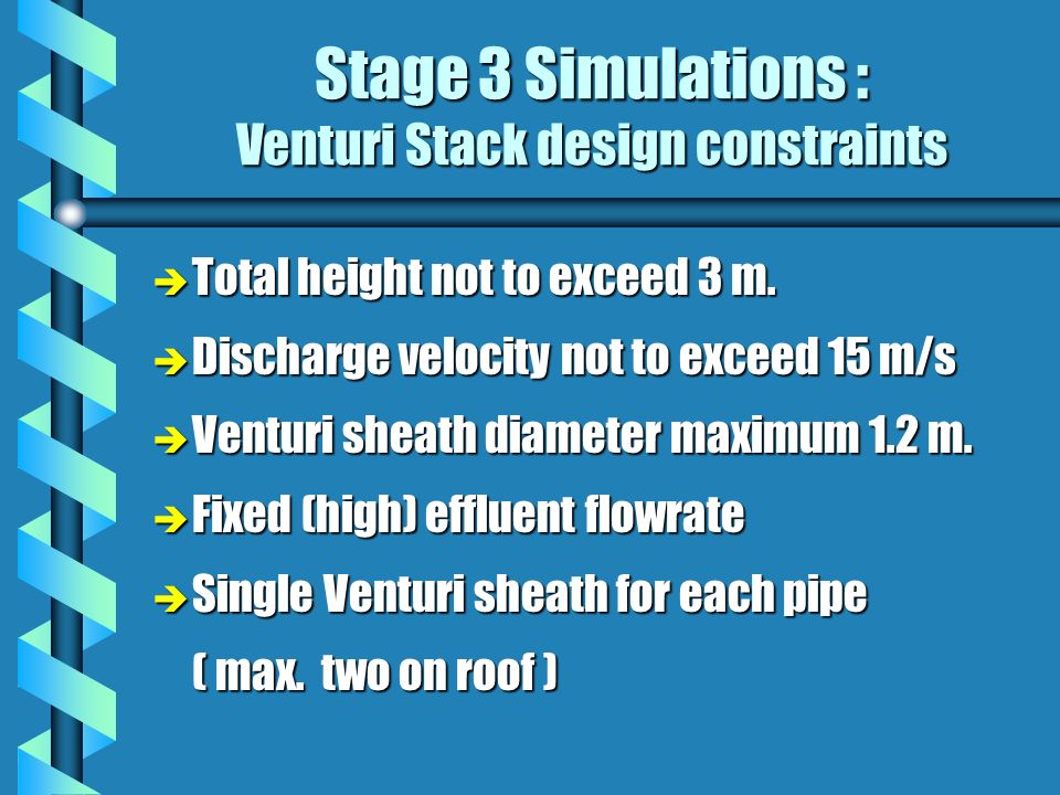 Stage 3 Simulations : Venturi Stack design constraints è Total height not to exceed 3 m.