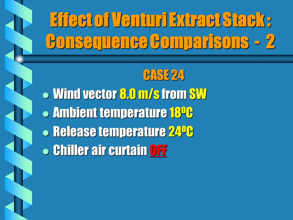 CASE 24 l Wind vector 8.0 m/s from SW l Ambient temperature 18 0 C l Release temperature 24 0 C l Chiller air curtain OFF Effect of Venturi Extract Stack : Consequence Comparisons - 2