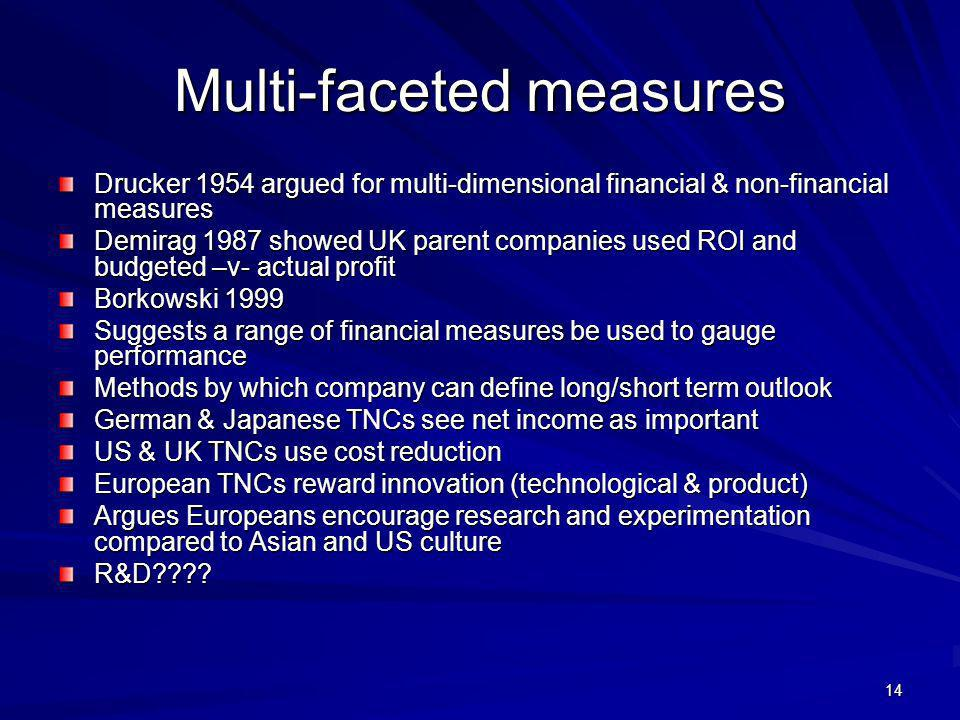 14 Multi-faceted measures Drucker 1954 argued for multi-dimensional financial & non-financial measures Demirag 1987 showed UK parent companies used RO