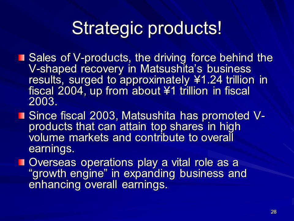 28 Strategic products! Sales of V-products, the driving force behind the V-shaped recovery in Matsushitas business results, surged to approximately ¥1