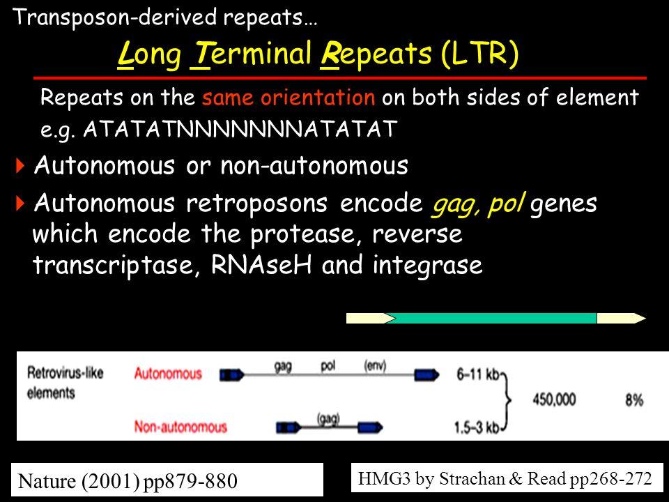Repeats on the same orientation on both sides of element e.g. ATATATNNNNNNNATATAT Autonomous or non-autonomous Autonomous retroposons encode gag, pol