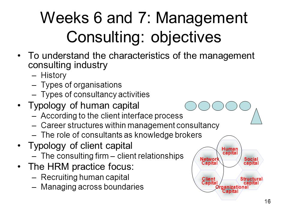 16 Weeks 6 and 7: Management Consulting: objectives To understand the characteristics of the management consulting industry –History –Types of organis