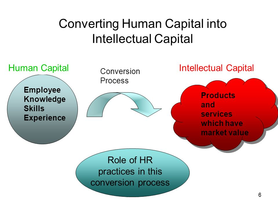 6 Converting Human Capital into Intellectual Capital Human Capital Employee Knowledge Skills Experience Conversion Process Intellectual CapitalHuman C