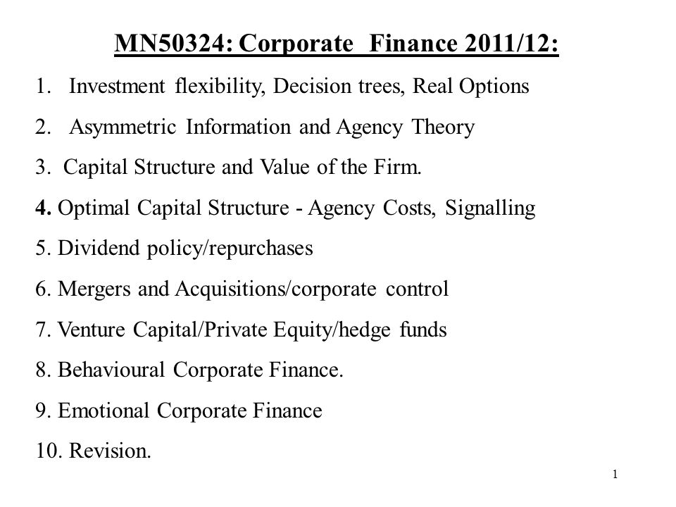 1 MN50324: Corporate Finance 2011/12: 1.Investment flexibility, Decision trees, Real Options 2.Asymmetric Information and Agency Theory 3. Capital Str