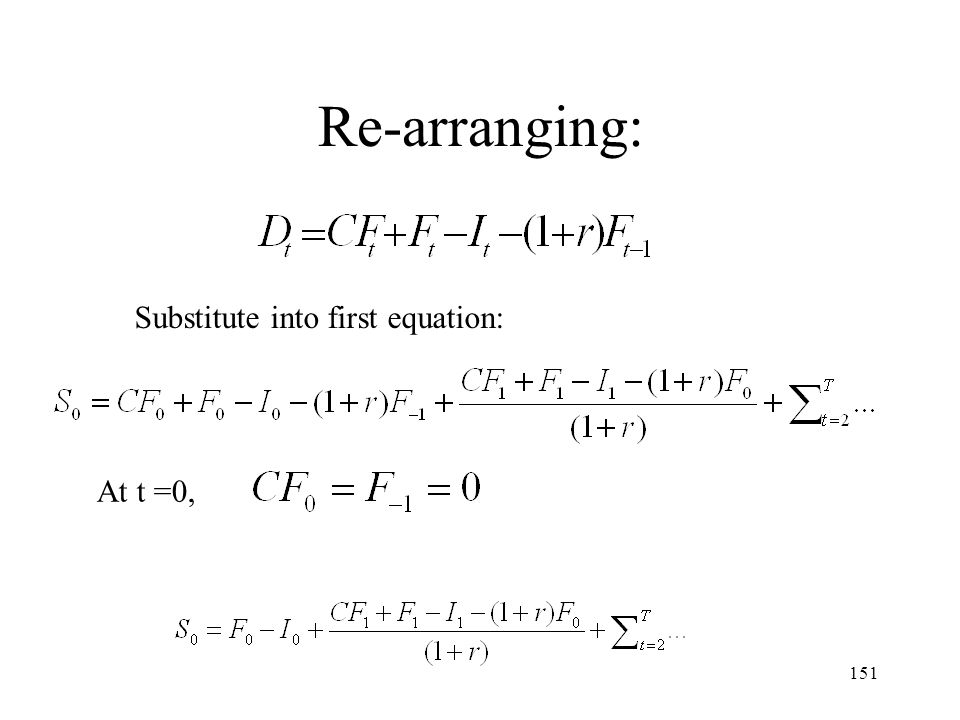 151 Re-arranging: Substitute into first equation: At t =0,