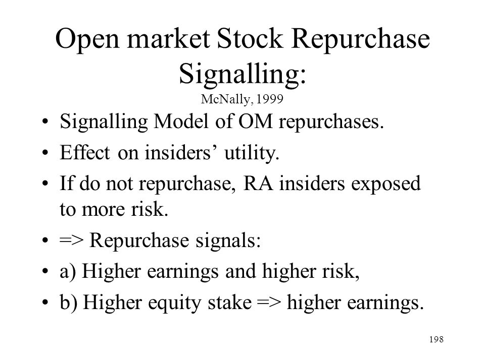 198 Open market Stock Repurchase Signalling: McNally, 1999 Signalling Model of OM repurchases. Effect on insiders utility. If do not repurchase, RA in