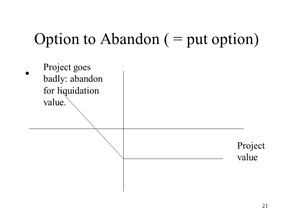 21 Option to Abandon ( = put option) Project value Project goes badly: abandon for liquidation value.