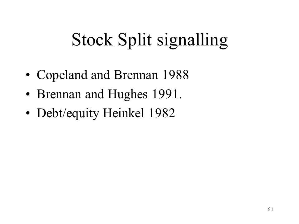 61 Stock Split signalling Copeland and Brennan 1988 Brennan and Hughes 1991. Debt/equity Heinkel 1982