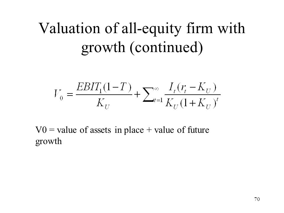 70 Valuation of all-equity firm with growth (continued) V0 = value of assets in place + value of future growth