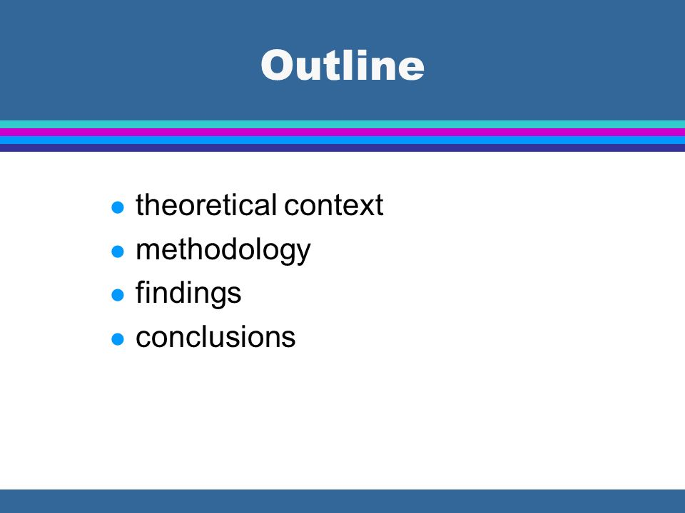 Outline theoretical context methodology findings conclusions