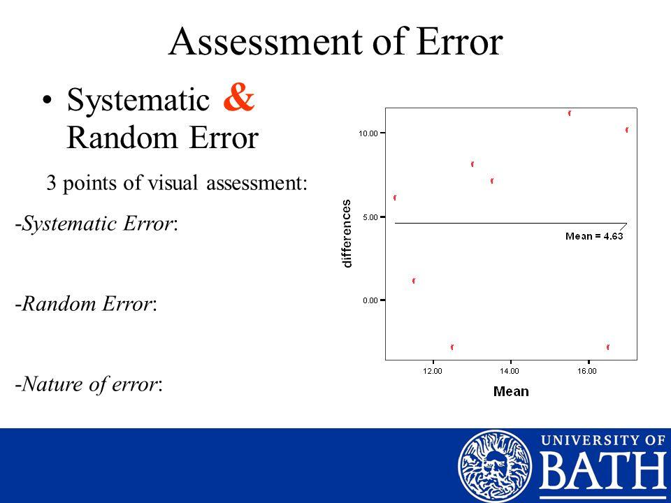 Assessment of Error Systematic & Random Error 3 points of visual assessment: -Systematic Error: -Random Error: -Nature of error: