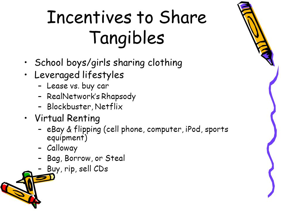 Incentives to Share Tangibles School boys/girls sharing clothing Leveraged lifestyles –Lease vs.