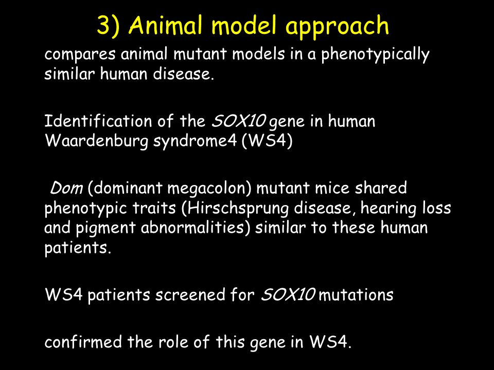 3) Animal model approach compares animal mutant models in a phenotypically similar human disease.