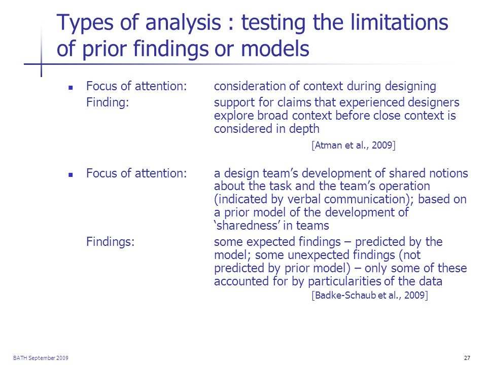 BATH September 200927 Types of analysis : testing the limitations of prior findings or models Focus of attention: consideration of context during desi