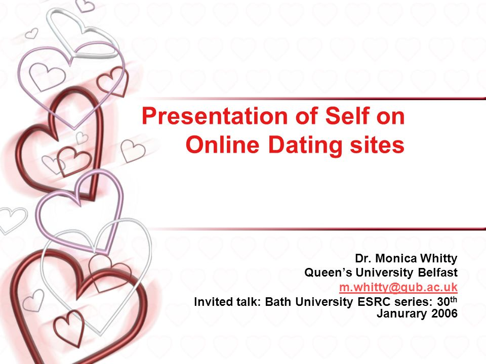 Presentation of Self on Online Dating sites Dr.