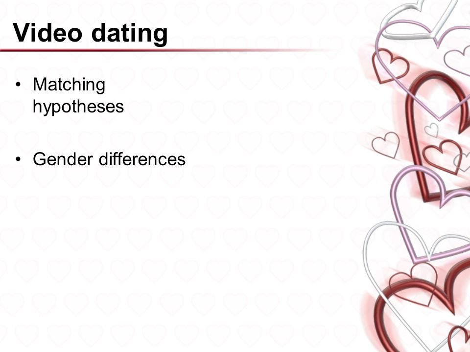 Video dating Matching hypotheses Gender differences
