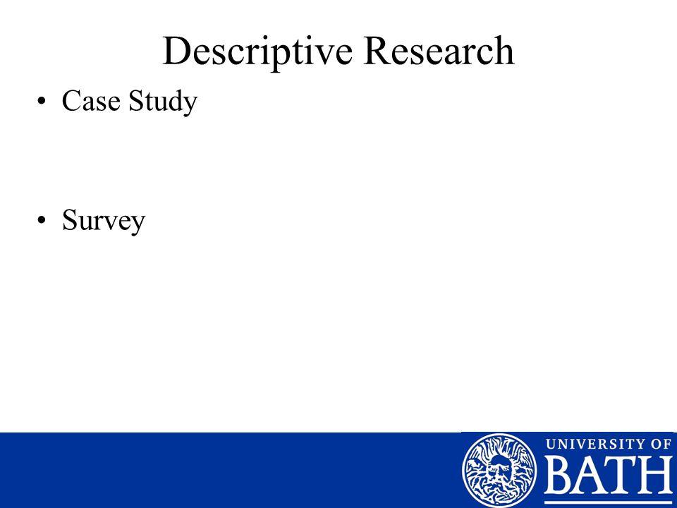 Descriptive Research Case Study Survey