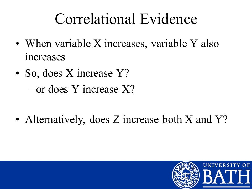 Correlational Evidence When variable X increases, variable Y also increases So, does X increase Y.