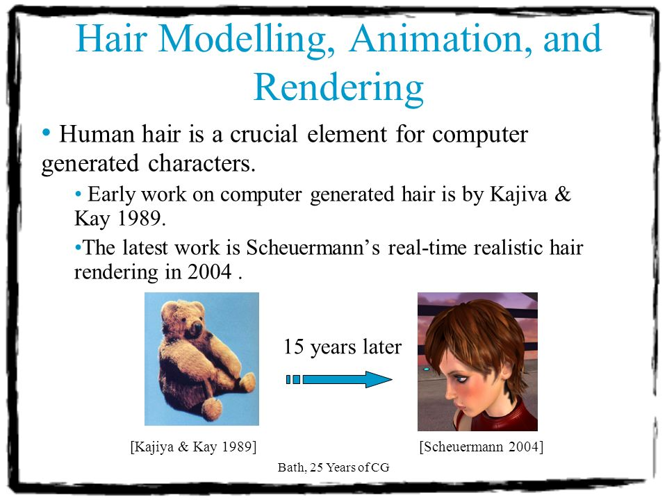 Bath, 25 Years of CG Hair Modelling, Animation, and Rendering Objectives of this presentation A literature review of hair techniques from the past to the present.
