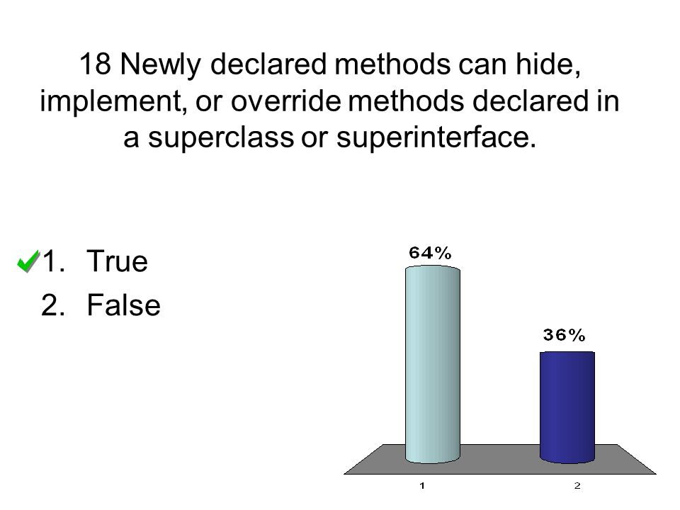 18 Newly declared methods can hide, implement, or override methods declared in a superclass or superinterface.