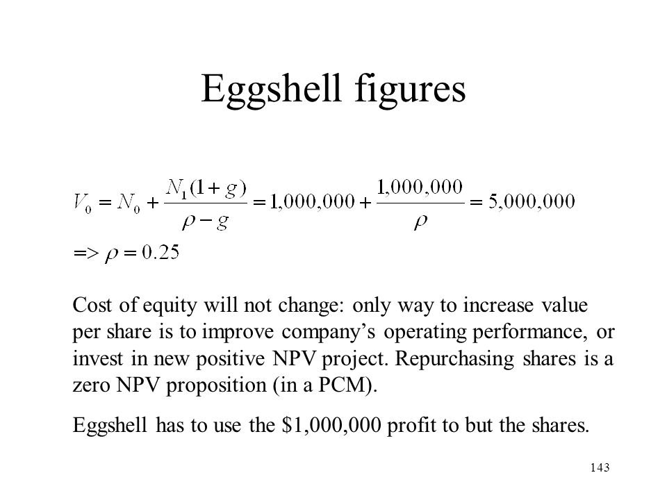 143 Eggshell figures Cost of equity will not change: only way to increase value per share is to improve companys operating performance, or invest in n