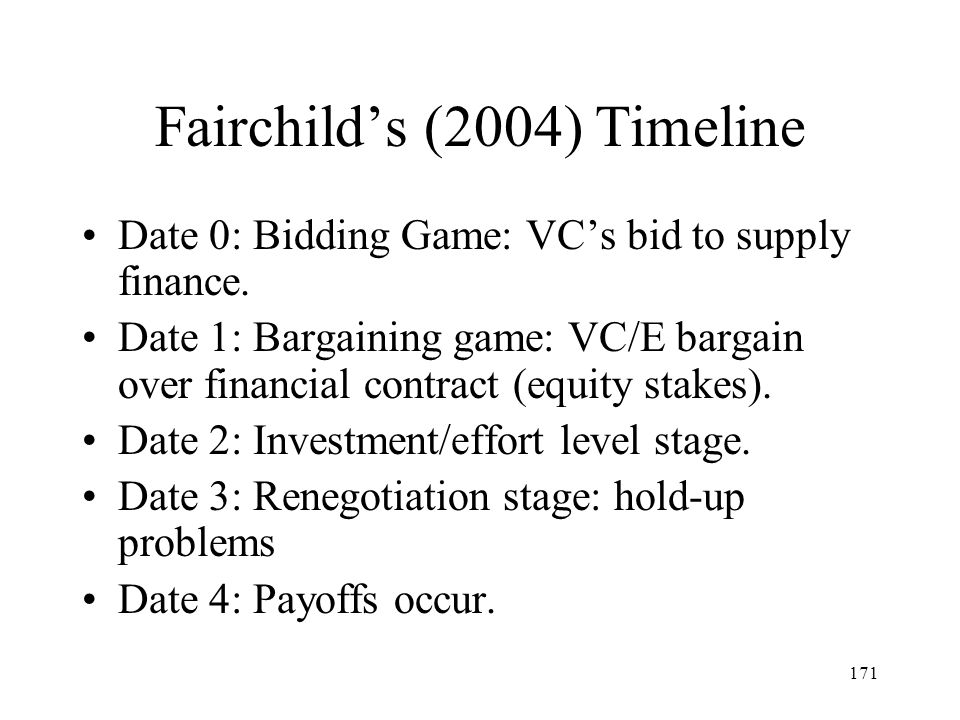 171 Fairchilds (2004) Timeline Date 0: Bidding Game: VCs bid to supply finance. Date 1: Bargaining game: VC/E bargain over financial contract (equity