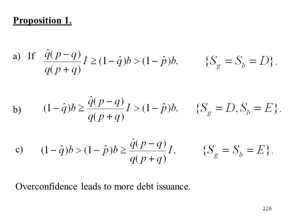 226 Proposition 1. a)If b) c) Overconfidence leads to more debt issuance.