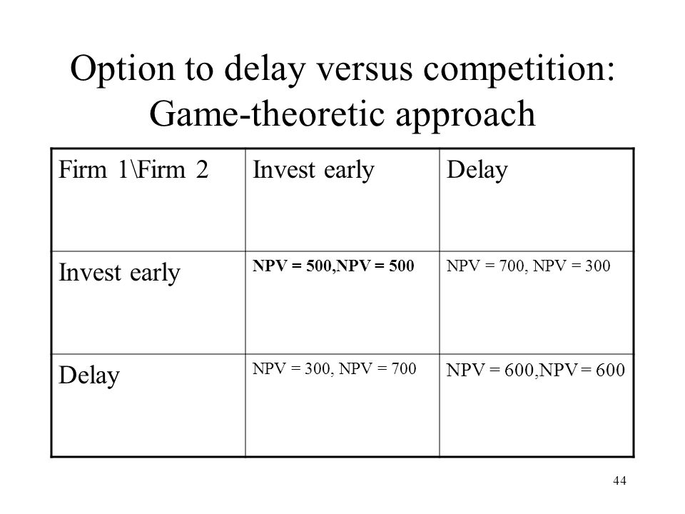 44 Option to delay versus competition: Game-theoretic approach Firm 1\Firm 2Invest earlyDelay Invest early NPV = 500,NPV = 500NPV = 700, NPV = 300 Del