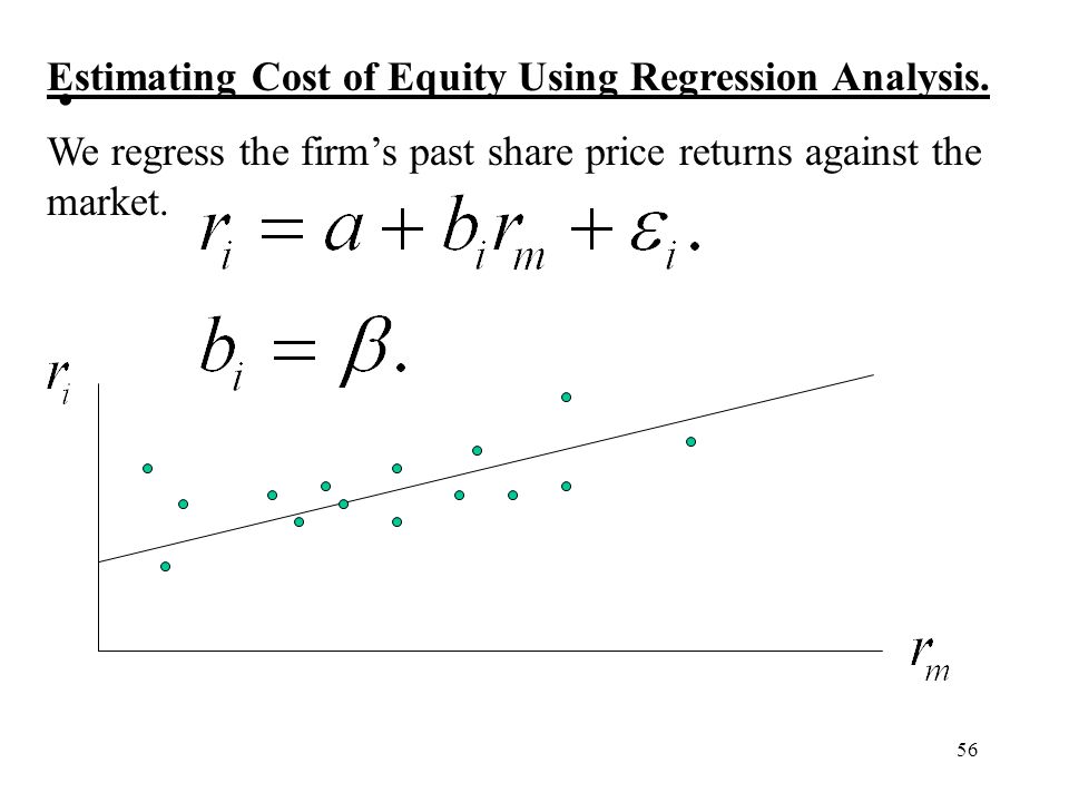 56 Estimating Cost of Equity Using Regression Analysis. We regress the firms past share price returns against the market.